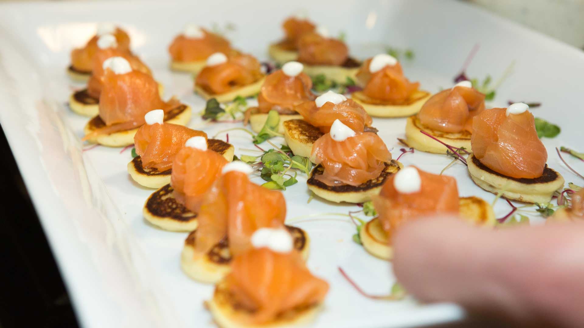 Event Catering by JP Challet Salmon Gravlax on Blinis