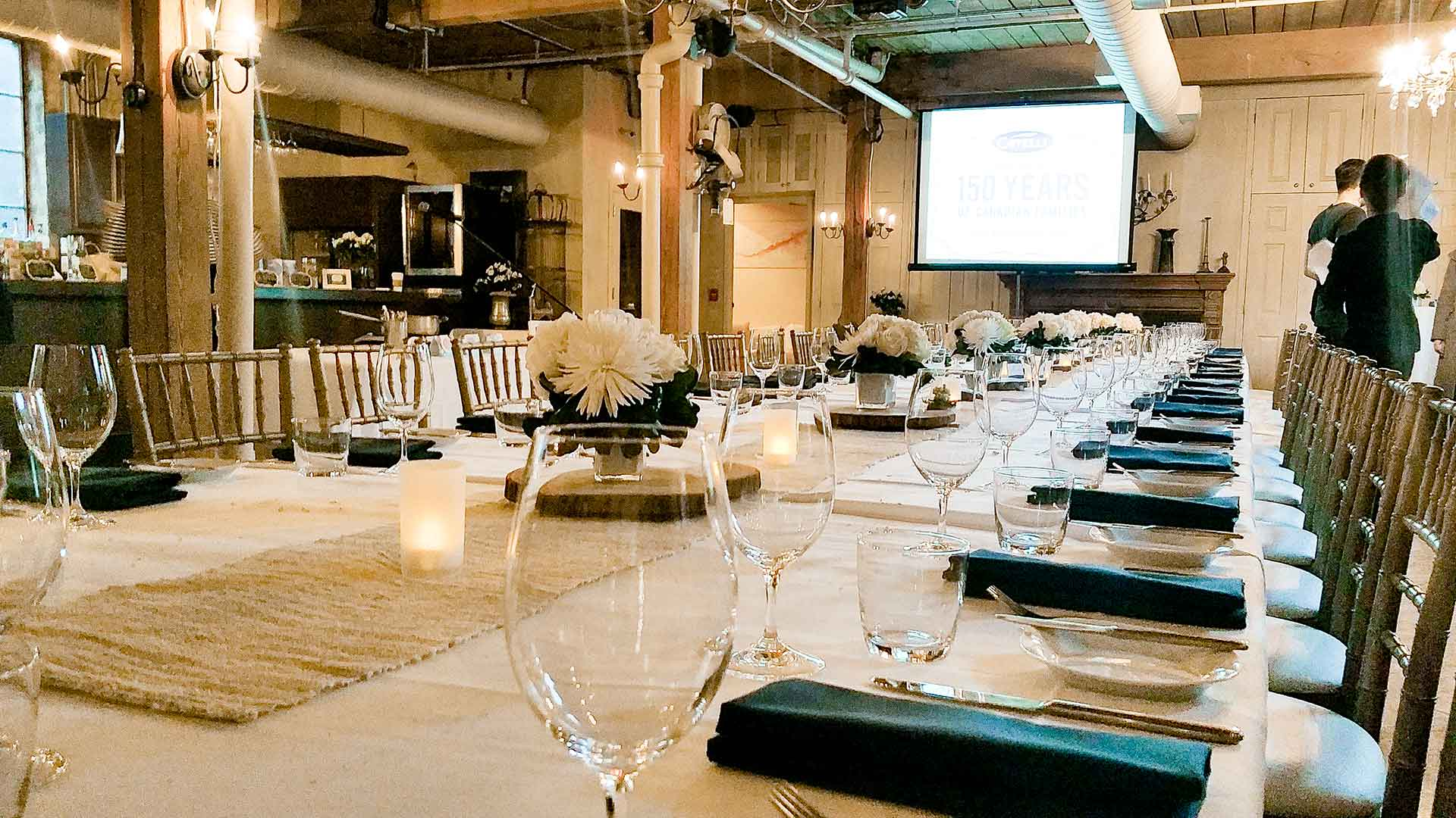 Toronto Event Venue for Company Anniversary Sit-Down Dinner and Presentation