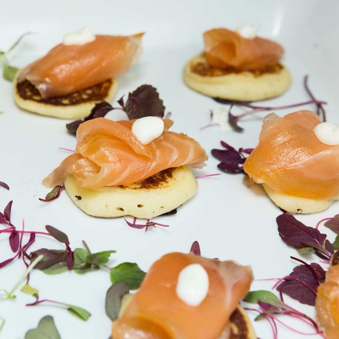 Event Catering Toronto - Passed Canapé - salmon gravlax on blini