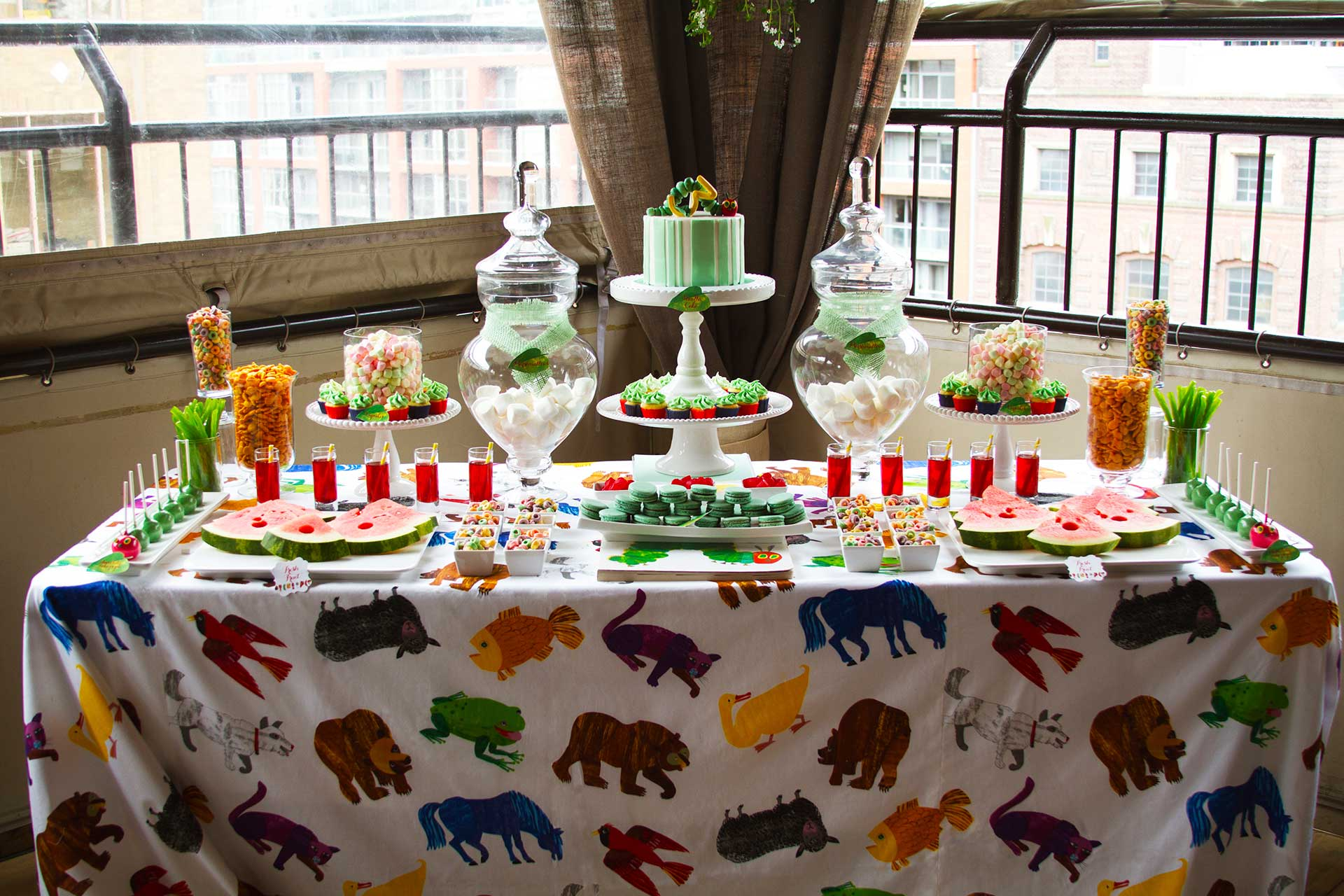 kids birthday party Toronto - catering - sweet table - very hungry caterpillar theme